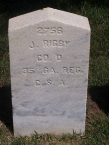 Headstone for Pvt. John Rigby, Co. D, 35th Georgia Infantry Regiment, Woodlawn National Cemetery at Elmira NY. See link to left for image credit.